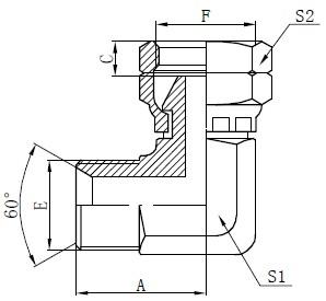 Desegno de BSP Elbow Connector Drawing