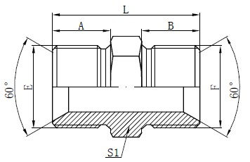 BSP Maskla Adaptor Fittings Desegnanta